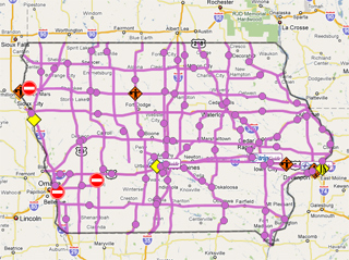 "The DOT road conditions map showing purple or ""difficult"" travel on most roadways."