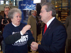 Terry Branstad talks with a supporter as he launches his campaign.