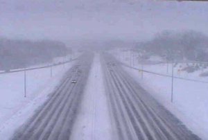 View from DOT camera on I-235 in Des Moines.