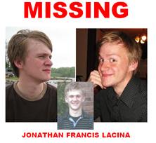 Jon Lacina missing person poster.