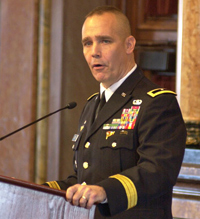 General Tim Orr presents his 'Condition of the Guard' address Tuesday.