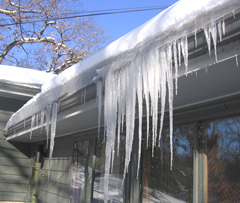 Ice dams like this one are common this winter.