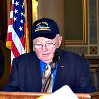 Senator Jack Kibbie speaks about the U.S.S. Iowa.