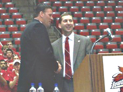 Greg McDermott with ISU AD Jamie Pollard after being named Cyclone coach 4 years ago.