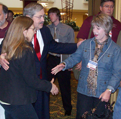Terry Branstad and wife Chris greeting people prior to the IBNA debate.
