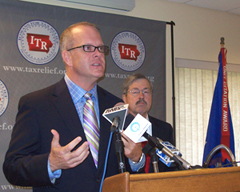 Iowans for Tax Relief president Ed Failor Jr. announces endorsement of Terry Branstad.