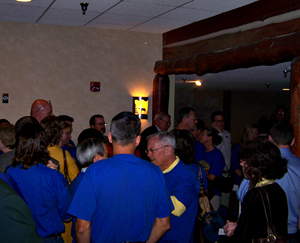 Supporters of the proposed Webster County casino wore blue shirts.