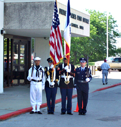 Color guard at Des Moines post office.