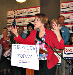 Roxanne Conlin talks to supporters after winning her primary.