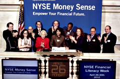 Tahira Hira ringing  Wall Street bell.