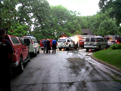 Fire crews on the scene of a fatal fire in Des Moines.