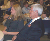 Newt Gingrich listens as Brad Zaun talks.
