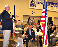 Newt Gingrich speaks at a fundraiser for Republican Congressional candidate Brad Zaun.