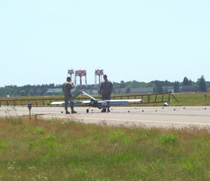 Unmanned plane on the runway.