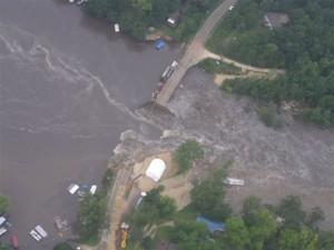Lake Delhi dam breach July 24, 2010 (photo courtesy Iowa State Patrol)