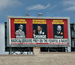 Tea Party billboard in Mason City. (Photo courtesy of Bob Fisher)