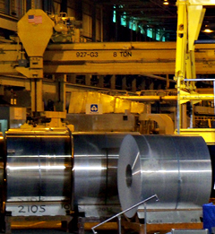 Aluminum rolls at the Alcoa plant. (file photo)