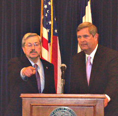 Governor Branstand (L) and Ag Secretary Tom Vilsack. (file photo)