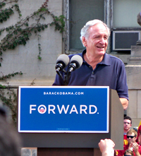 Senator Tom Harkin speaking at a rally for President Obama at Iowa State.