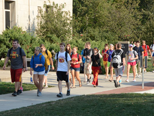 Iowa State University students on the way to class. (ISU photo)