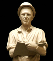 Clay statue of Norman Borlaug.