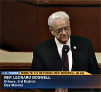 Congressman Leonard Boswell during a farewell tribute in the U.S. House.