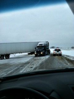 Jackknifed semi on I-80.