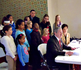 Governor Branstad reads a proclamation during the Martin Luther King Junior celebration.