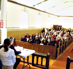 The Martin Luther King Jr. celebration was held in the chapel of the Fort Des Moines Museum.