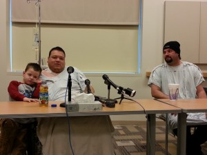 (l-r) Kidney transplant recipient Nick Titus with son, Ryan, and donor Mike Dodge