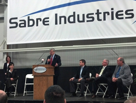 Governor Branstad speaks at the Sabre Industries dedication.
