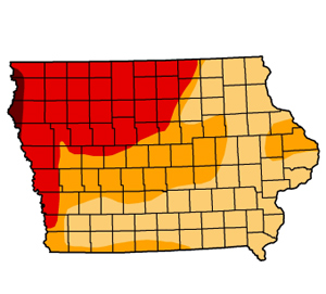 State drought map with the darker colors indicating the most severe drought areas.