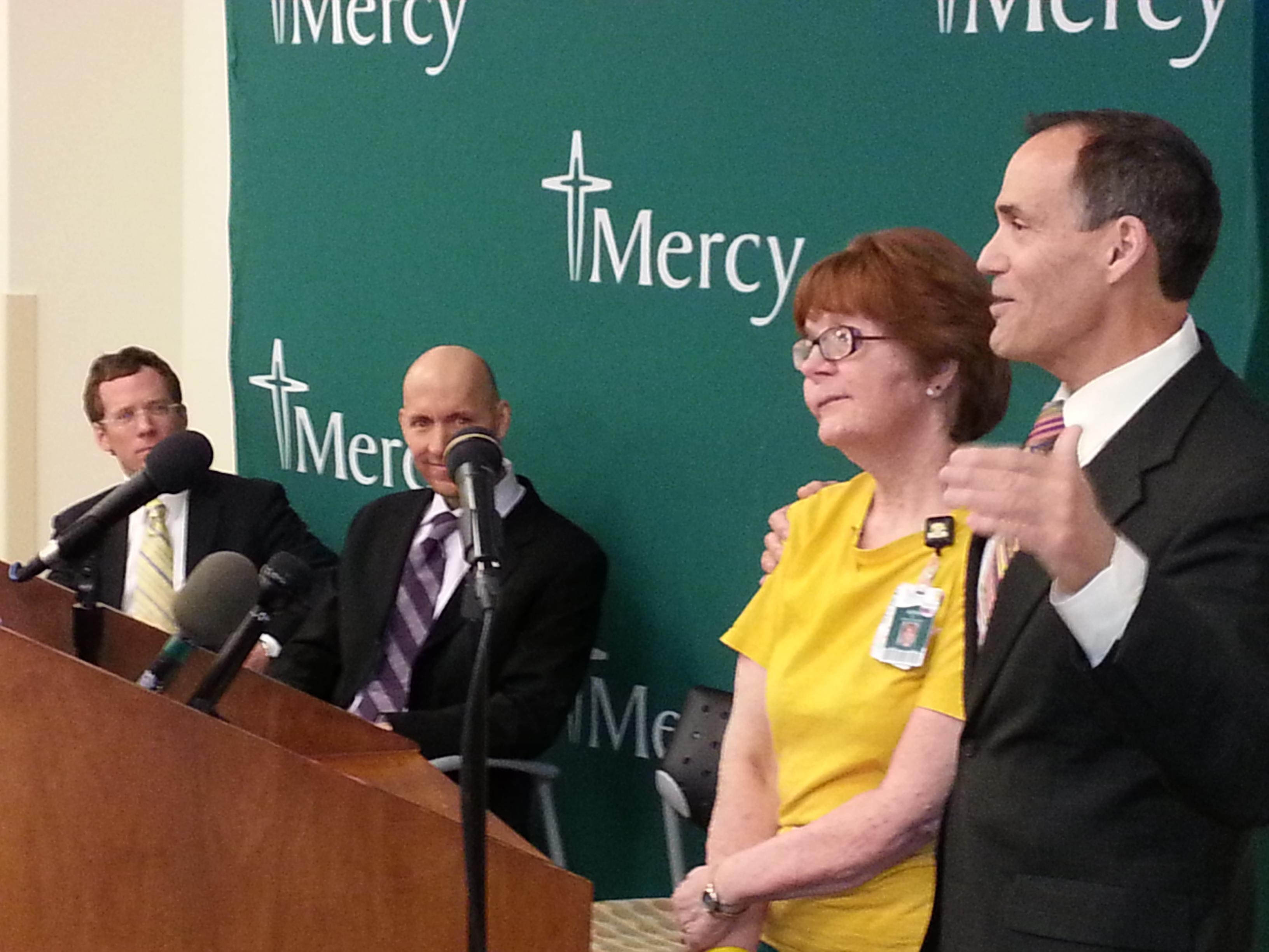 (l-r) Charlie Wittmack, Steve Cannon, cancer survivor Kathy Wennihan, Dr. Richard Deming