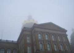 Foggy weather surrounded the capitol building earlier this month. The threat of snow has shut down activity today.