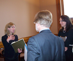 Dr. Christenson, left, speaks with Iowa Medical Society's Kate Walton & Senator Quirmbach