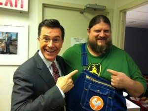 Stephen Colbert and Carl Blake (courtesy Rustik Rooster Farm)