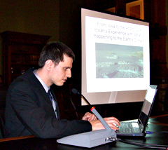 NASA scientist Nathan Kurtz talks to legislators about sea ice.