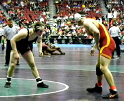 Iowa's Ethan Lofthouse (left) faces Iowa State's Boaz Beard at 184. Lofthouse won the match 8-2.
