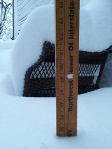 This yardstick shows a 14 inch snowfall in State Center..