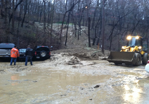 Officials had to clean up a mudslide a the Mayflower Residence Hall at the University of Iowa.
