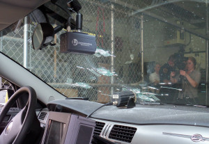 Bullet holes visible from the inside of the Sioux City squad car involved in Monday's shooting.