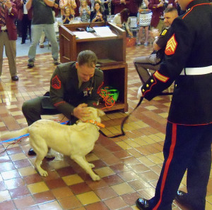 Sergeant Ross Gundlach was reunited with Casey in a surprise at the Iowa Capitol.