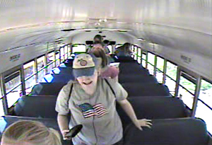 This is a photo of Kathlynn Shepard exiting her bus prior to her abduction Monday.