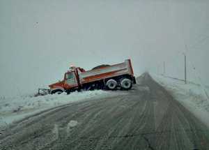 This snowplow got stuck. Photo courtesy of WHO-TV.