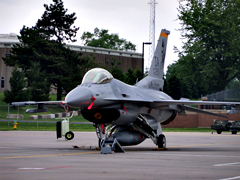 F-16 on the tarmac in Des Moines.
