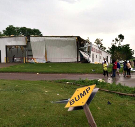 Body shop damaged by a storm in Muscatine.