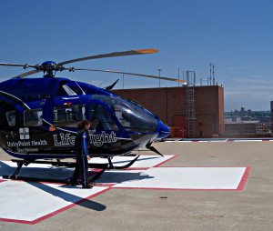 Life Flight helicopter on the helipad. You can see the state capitol at the lower right.  (click on image to make larger)