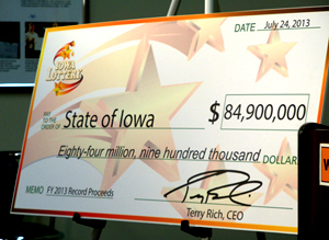 The Iowa Lottery displayed this check to represent the profit from the last fiscal year.
