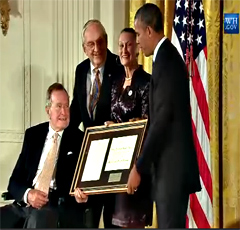 Fromer President Bush and President Obama with Floyd Hammer and Kathy Hamilton at the Points of Light ceremony.