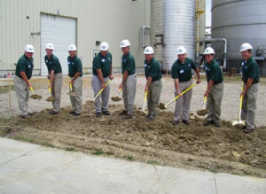 Officials with Quad County Corn Processors break ground for an upgrade to the plant in Galva.
